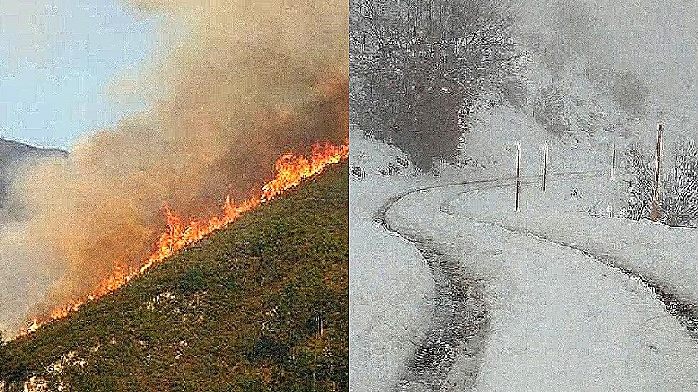 Fuego y nieve en Asturias